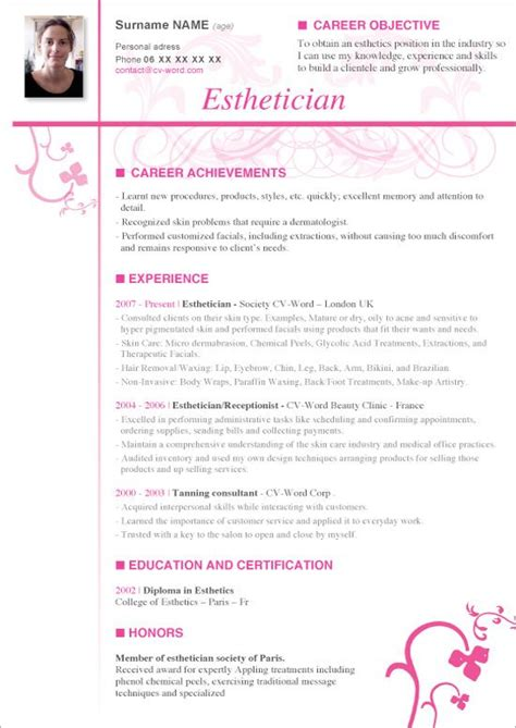 Esthetician Sle Resume by Esthetician Resume Sle 28 Images Sle Resume Format For Part Time 28 Images Part Time