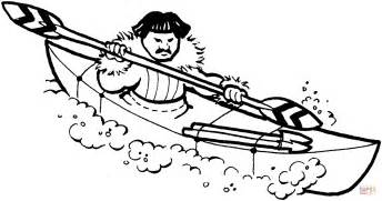 Eskimo Hunter On Kayak Coloring Online sketch template