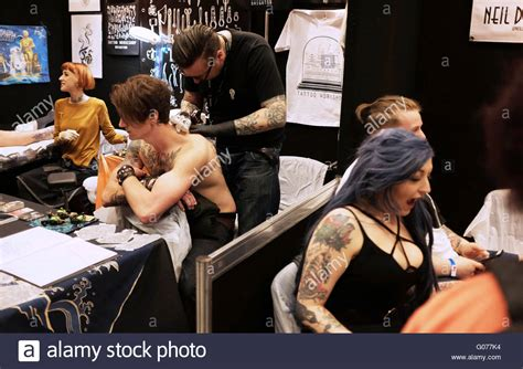 quebec tattoo convention 2016 brighton uk 30th april 2016 tattoo artists working at