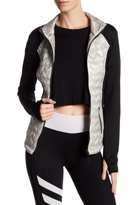 Betsey Johnson Quilted Jacket by Betsey Johnson Quilted Hybrid Jacket In Metallic Lyst