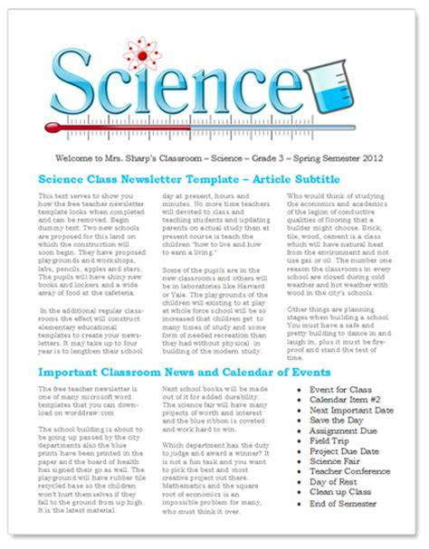 Science Newsletter Template Worddraw Com Free Teacher Newsletter Templates