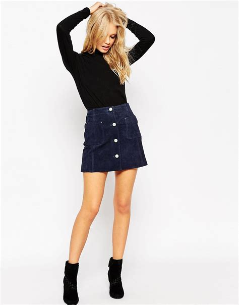 asos asos suede a line skirt with button through and