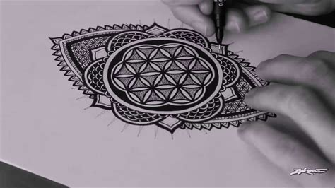 speed drawing freehand flower of life mandala youtube