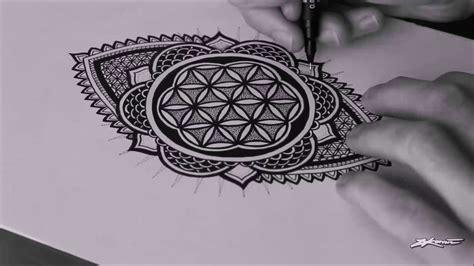 speed drawing freehand flower of life mandala youtube