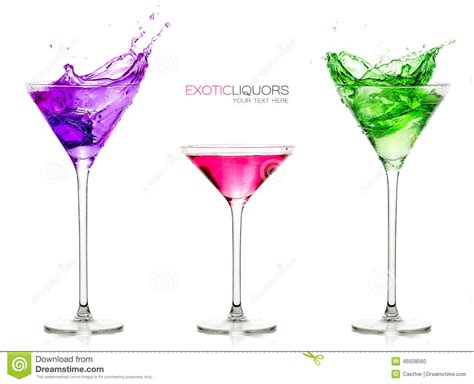 cocktail glasses full colorful drinks set exotic