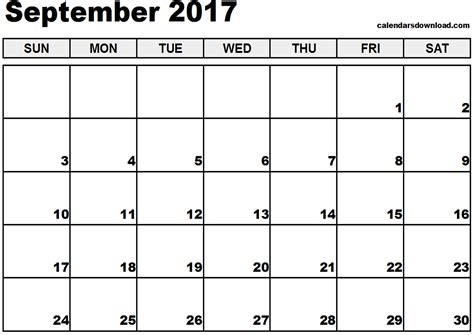 printable calendar 2017 pages september 2017 calendar page printable template with holidays