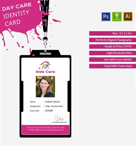 identity card template fabulous day care identity card template free premium