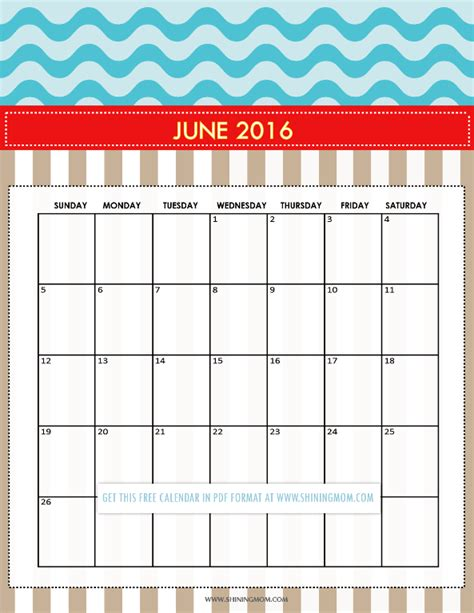 printable month calendar june 2016 pretty printable calendars for june