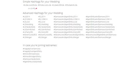 Wedding Name Hashtag Generator by Wedding Hashtag Wall Loveweddingsng Lolashola2014