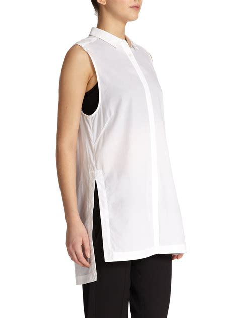 30779 White Cotton Blouse helmut lang sleeveless cotton tunic blouse in white lyst