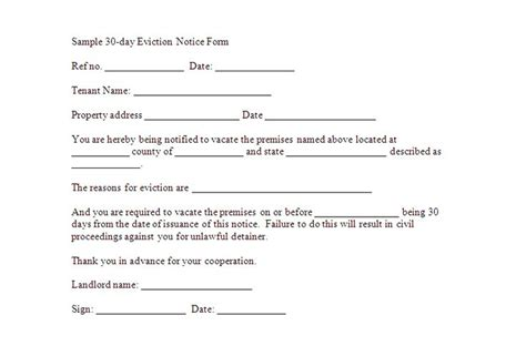 template of eviction notice 30 day notice to vacate template real estate forms
