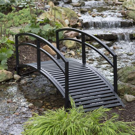 modern 8 ft metal garden bridge with arched rails in black powder coated steel fastfurnishings com