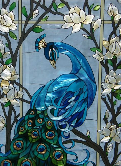 peacock stained glass l 292 best peacock stain glass images on pinterest