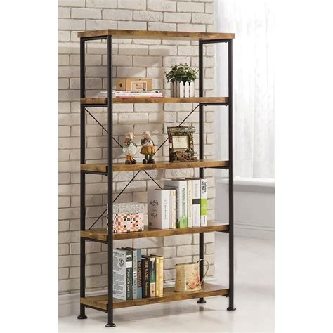 coaster barritt 4 shelf bookcase in antique nutmeg 801542