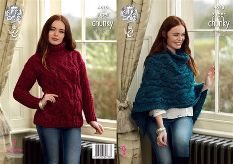 poncho knitting pattern chunky king cole chunky knitting pattern poncho