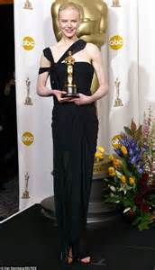 2003 academy award for best actress nicole kidman stands out in shimmering strapless gown at