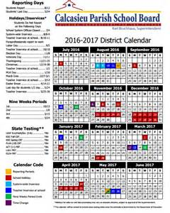 Cpsb Calendar Louisiana School Board 2016 2017 School Year Calendars