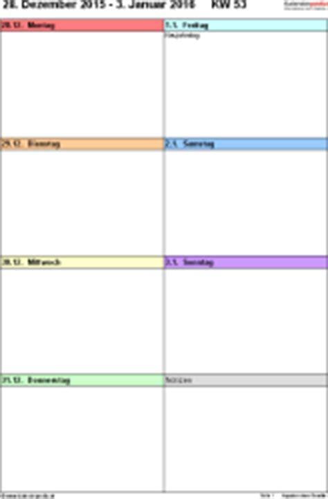 Kalender 2016 Vordruck Wochenkalender 2016 Als Word Vorlagen Zum Ausdrucken