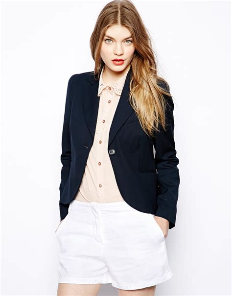 Bow Back Blazer Termurah Moschino Blazer With Signature Bow Back In Blue Lyst