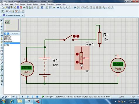 tutorial proteus 3 how to use variabel resistor proteus simulator