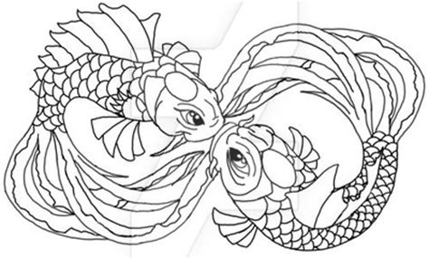 Two Koi Fish Outline by Koi Outline By Pennywise3368 On Deviantart