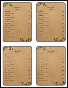 microsoft office menu template menu exles 5 free printable word pdf open office
