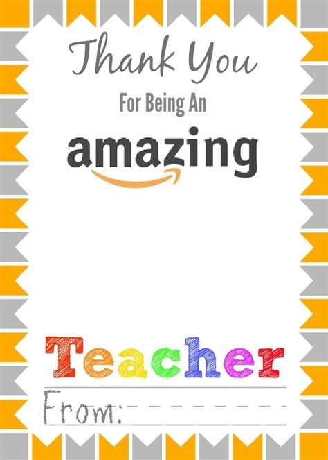 thank you cards template for teachers free printable appreciation gift card holders