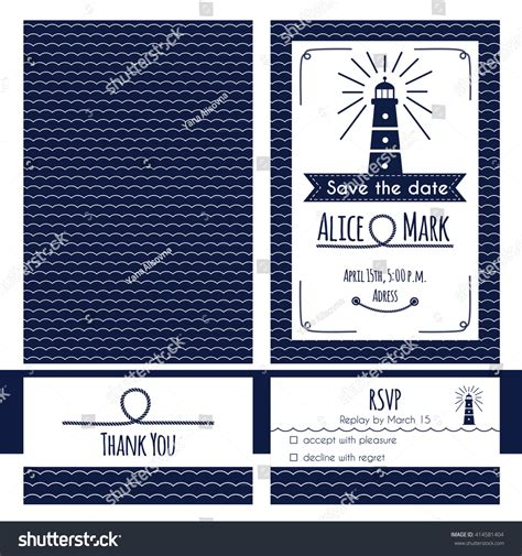 nautical card templates nautical wedding invitation rsvp card template stock