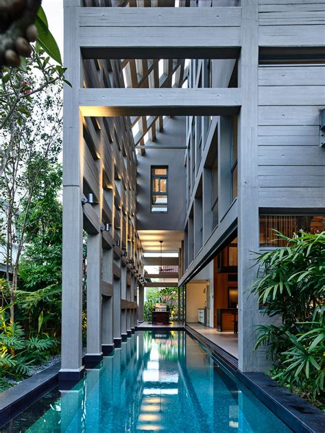 indoor swimming pool modern house courtyard singapore