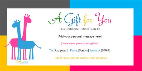 gift template birthday gift certificate templates for and boys