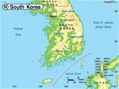 korea physical map world map south korea images