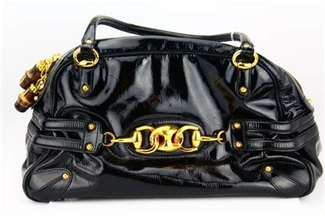 Katherine Heigl Style Couture Patent Leather Lovely Bag by Gucci Vintage Black Patent Leather Wave Boston Bowler Bag W