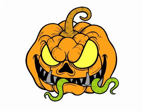 imagenes halloween de terror dibujo de super calabaza de terror pintado por en dibujos