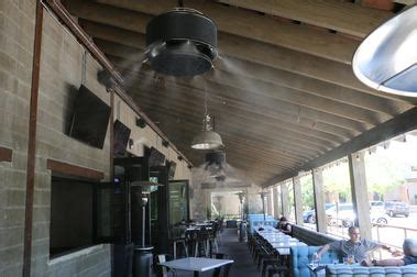 outdoor ceiling fans with misters mistamerica cooling misting systems outdoor heating