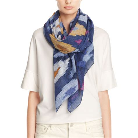 couch scarf coach ikat oversized square scarf in blue lyst