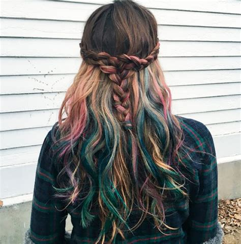 pictures of multicolor highlights mermicorn hair multicolor color hair pinterest