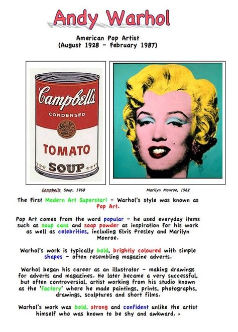 pop research andy warhol artist fact sheet for education