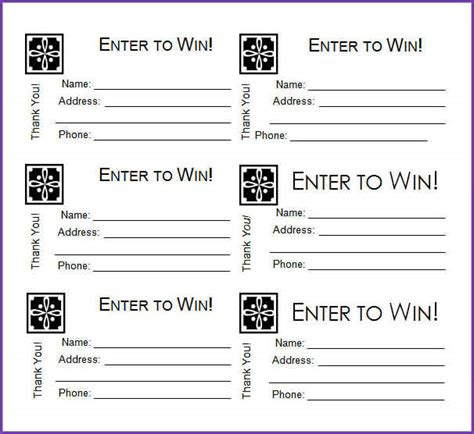 raffle entry forms printable clipart library