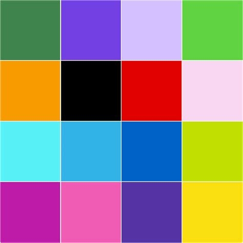 color squares memory grid of colored squares