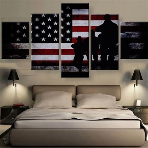 canvas prints home decor 5 panels veterans pride american flag canvas prints