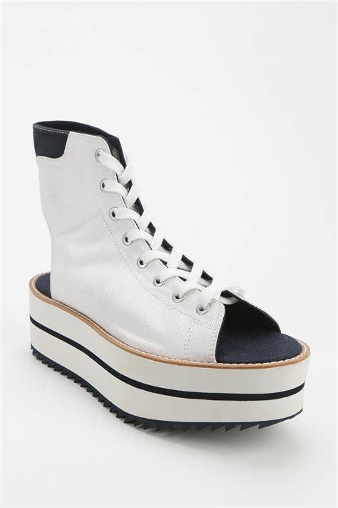 adidas blue platform sneaker in white lyst
