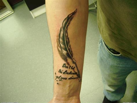tattoo pen designs feather pen and quote arm tattoo tattoomagz