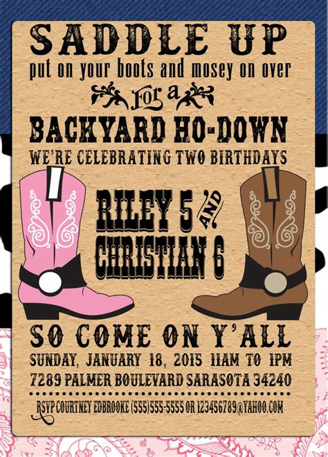 Pin By Crafted By Yudi On Cowboy Theme Pinterest Western Parties Party And Party Invitations And Invite Template