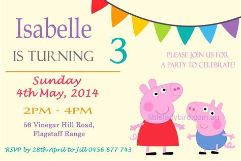 peppa pig invitation card template peppa pig birthday invitations best ideas