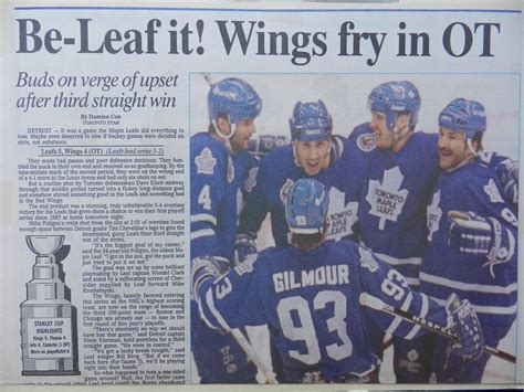 toronto star sports section the 1993 doug gilmour scrapbook