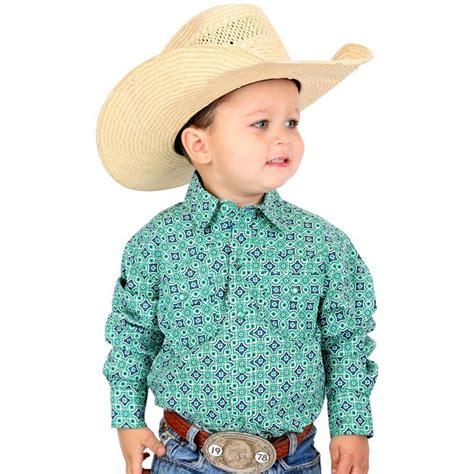cinch blue western boys print snap shirt  boy