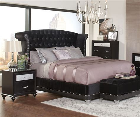 barzini black velvet upholstered bed  piece bedroom set  black finish  coaster