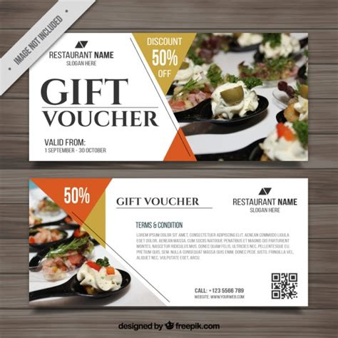 printable restaurant gift vouchers voucher for food with pictures vector free download