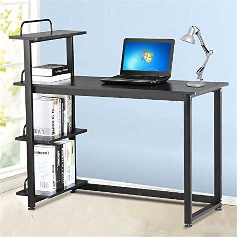 Corner Computer Desk With Shelves Yaheetech Wood Corner Computer Desk Pc Laptop Table Workstation With 4 Tiers Shelves Black