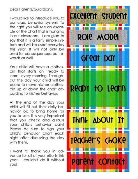 Parent Letter Explaining Clip Chart 1000 Images About Behavior Charts On Parent Letters Clip Charts And Letter To Parents